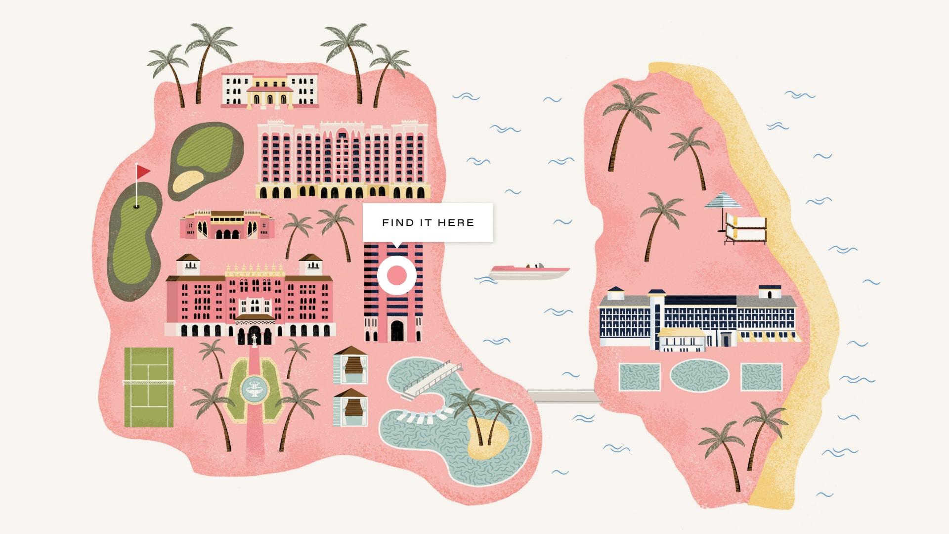 Map of the Boca Raton Resort